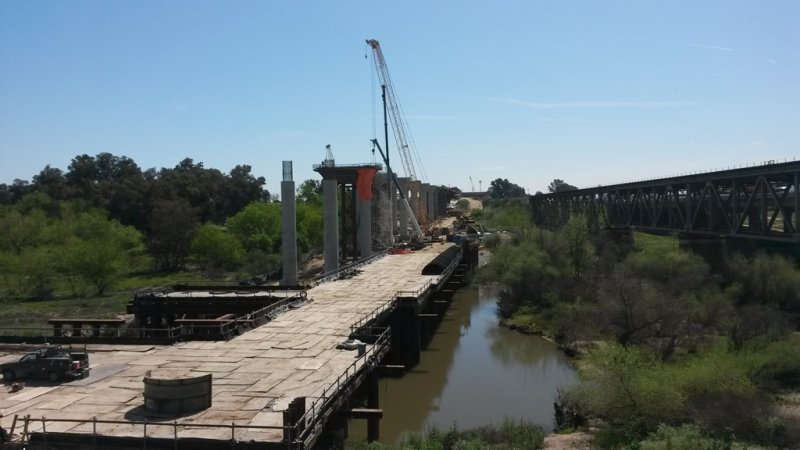 Spanning the San Joaquin River, San Joaquin River Viaduct Structure and Temporary Trestle, You have to build a bridge to build a bridge!